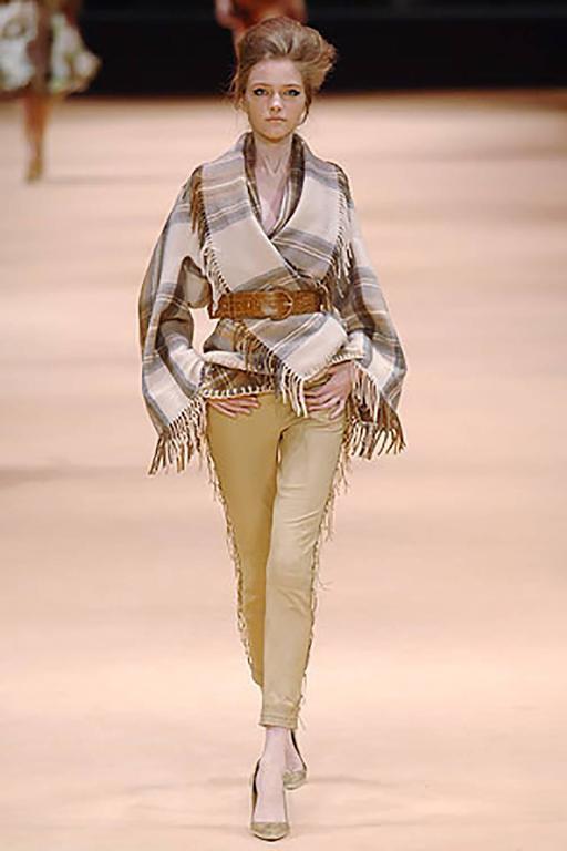 Beige 2005 Alexander McQueen Plaid Shawl Jacket W/Fringe At Hem & Fitted Waist For Sale