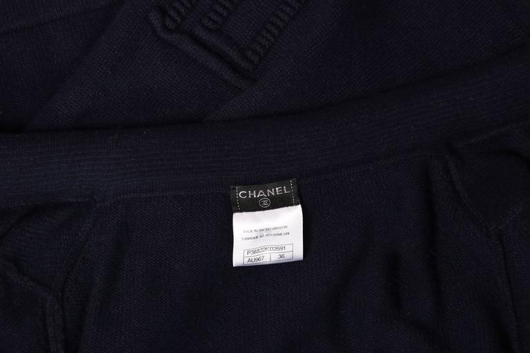 2010 Chanel Navy Cashmere Cardigan W/Bell Sleeves, Waist Tie & Metal Buttons 9