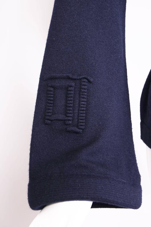 2010 Chanel Navy Cashmere Cardigan W/Bell Sleeves, Waist Tie & Metal Buttons 4