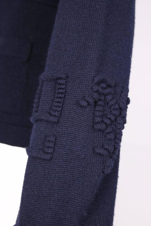2010 Chanel Navy Cashmere Cardigan W/Bell Sleeves, Waist Tie & Metal Buttons 5