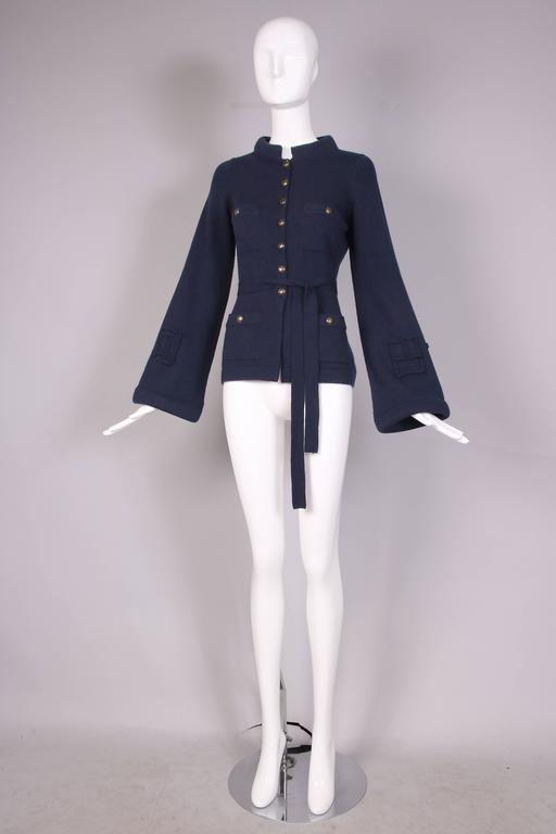 2010 Chanel Navy Cashmere Cardigan W/Bell Sleeves, Waist Tie & Metal Buttons 6