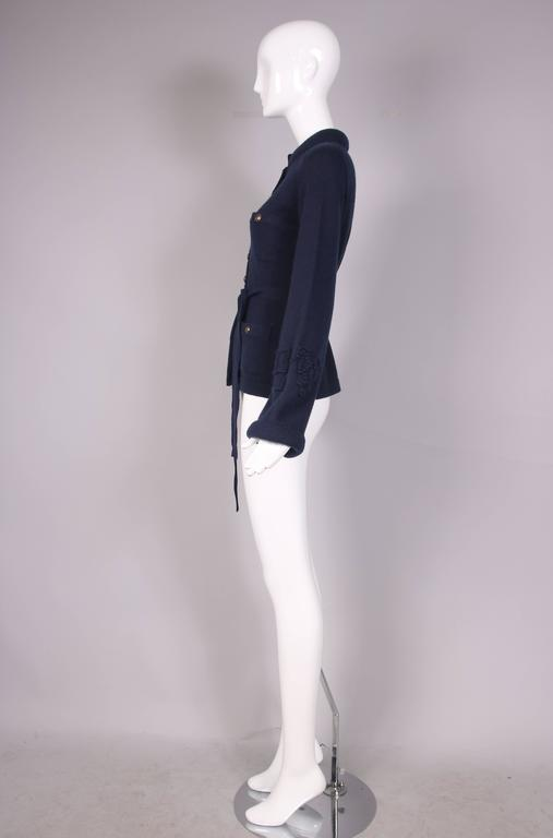 2010 Chanel Navy Cashmere Cardigan W/Bell Sleeves, Waist Tie & Metal Buttons 7