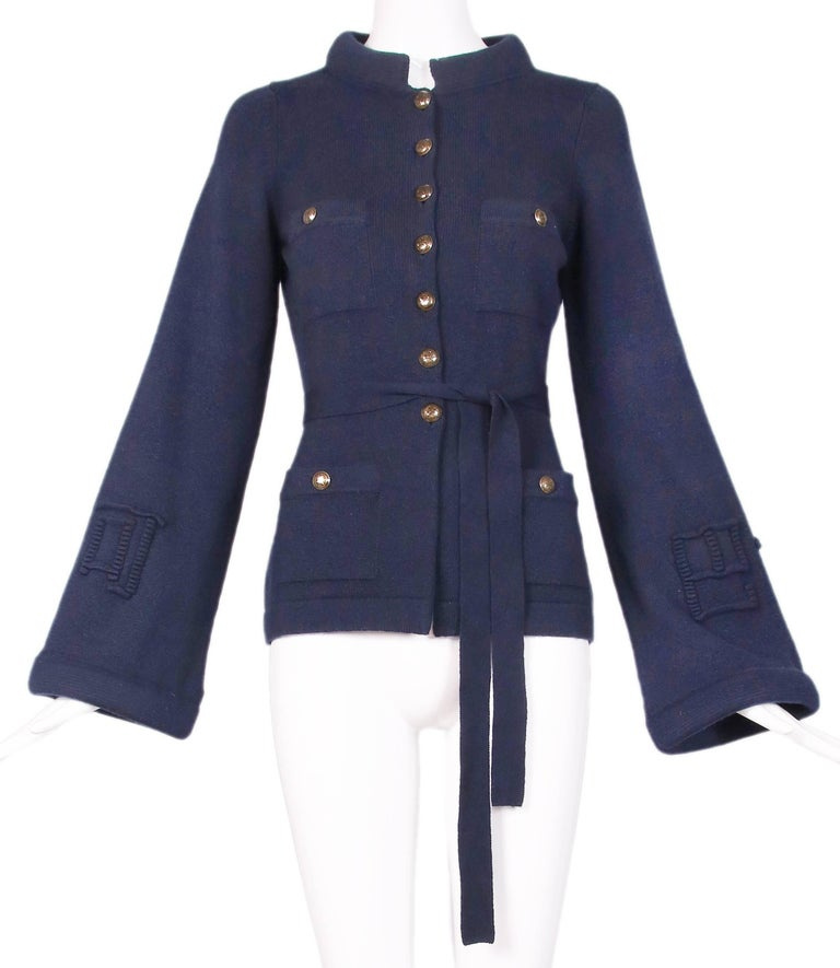 2010 Chanel Navy Cashmere Cardigan W/Bell Sleeves, Waist Tie & Metal Buttons 2