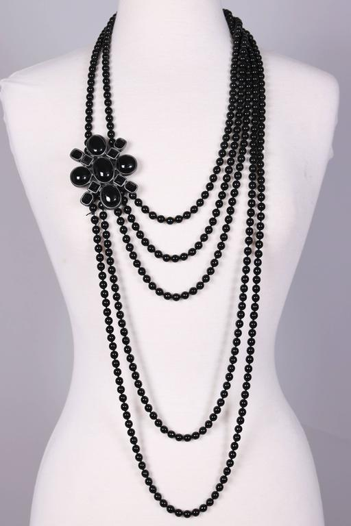 2005 Chanel Multi-strand Black Patte de Verre Beaded Sautoir w/Brooch Detail 2