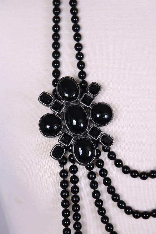 2005 Chanel Multi-strand Black Patte de Verre Beaded Sautoir w/Brooch Detail 5