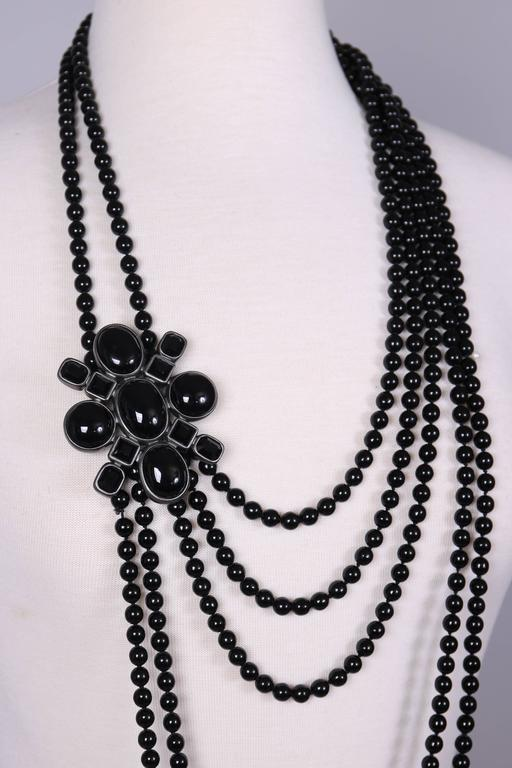 2005 Chanel Multi-strand Black Patte de Verre Beaded Sautoir w/Brooch Detail 4