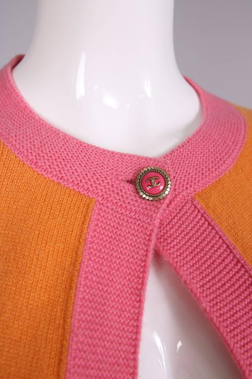 2007 Chanel Orange Cashmere Cardigan W/Chanel CC Logo Buttons & Pink Trim For Sale 3