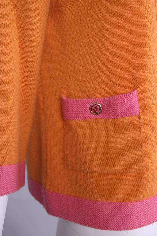 2007 Chanel Orange Cashmere Cardigan W/Chanel CC Logo Buttons & Pink Trim For Sale 4