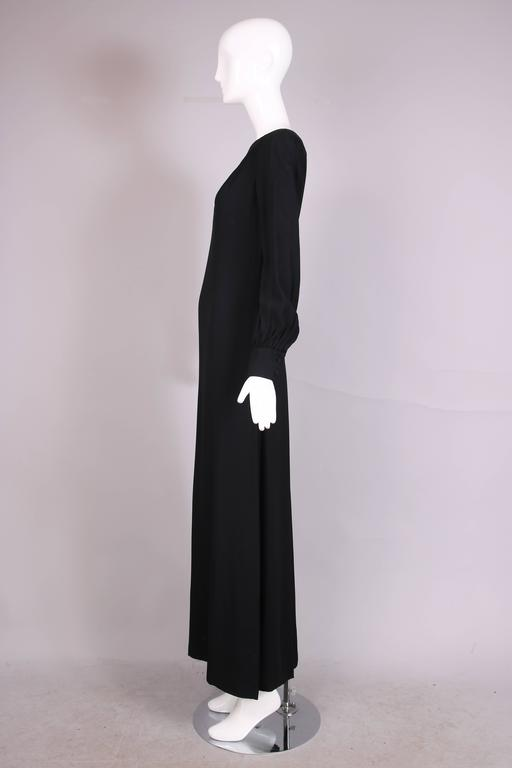 1970s Valentino Black Maxi Dress With Pin Tucks and Embroidered Cherry Applique In Excellent Condition For Sale In Los Angeles, CA