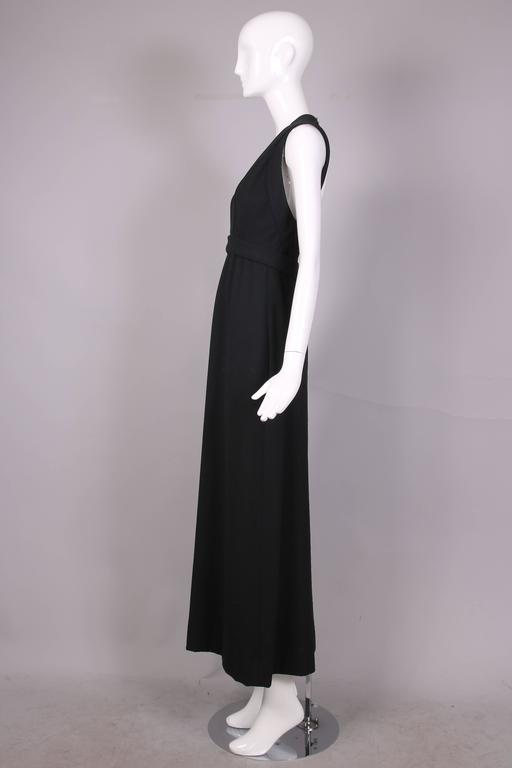 1970's Donald Brooks Black Halter Evening Gown W/Open Back & Rhinestone Buckles 7