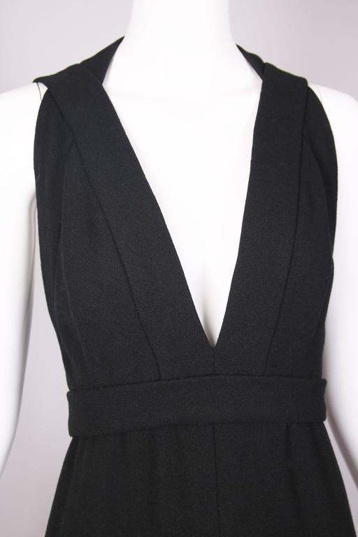1970's Donald Brooks Black Halter Evening Gown W/Open Back & Rhinestone Buckles 5