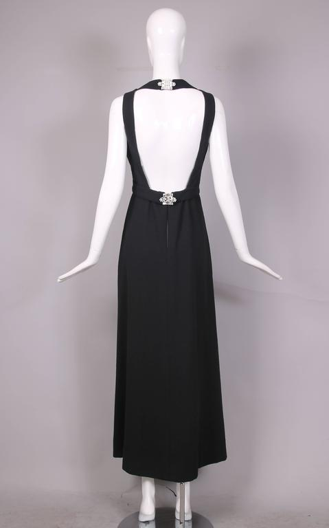 1970's Donald Brooks Black Halter Evening Gown W/Open Back & Rhinestone Buckles 3