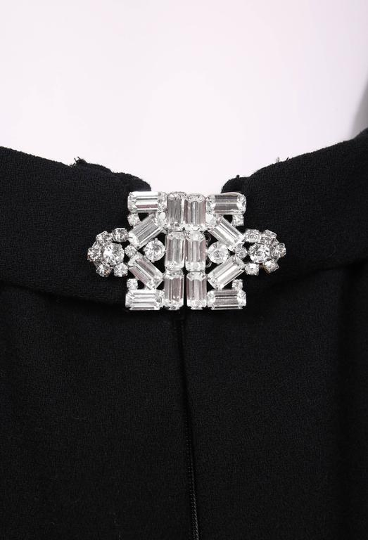 1970's Donald Brooks Black Halter Evening Gown W/Open Back & Rhinestone Buckles For Sale 2