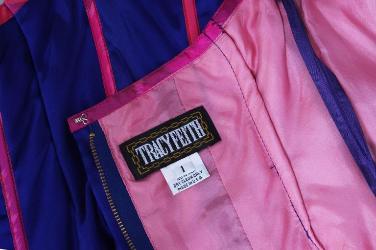 Tracy Feith Purple Silk Bustier W/Hot Pink Trim & Metallic Inset For Sale 4