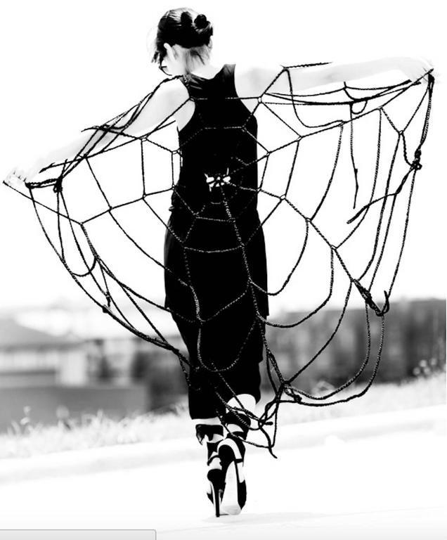 Maison Margiela Black Wool Spider Web Scarf 4