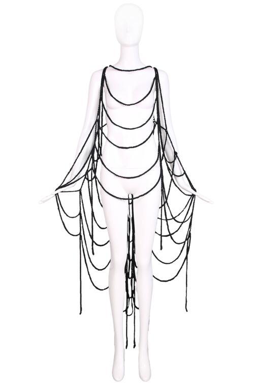 Maison Margiela Black Wool Spider Web Scarf 3