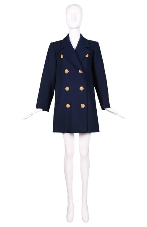 Vintage Yves Saint Laurent Ysl Navy Wool Caban Coat Jacket