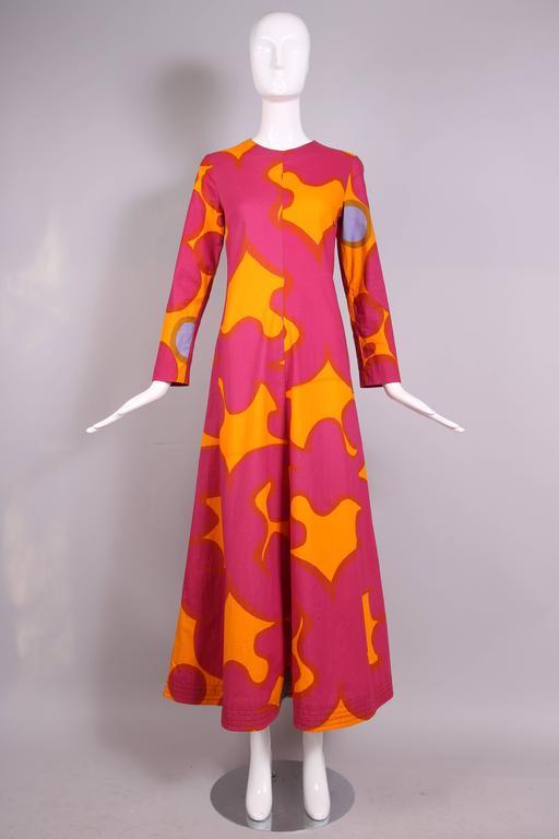 Vintage Marimekko Pink And Orange Cotton Abstract Print