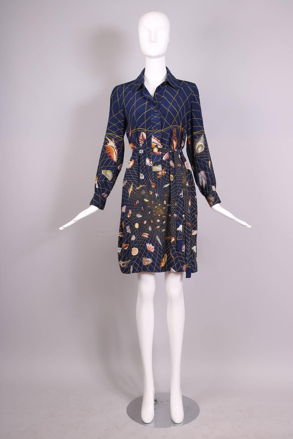 ea804dda766 1970 s Gucci Graphic Silk Belted Shirtdress W Iconic Shell Print For Sale  at 1stdibs