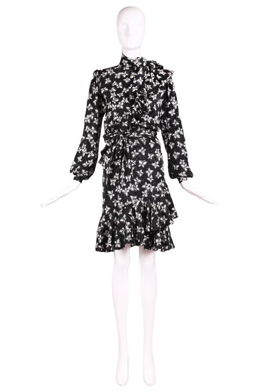 Vintage Yves Saint Lau Haute Couture Black White Erfly Print Silk Day Dress Featuring