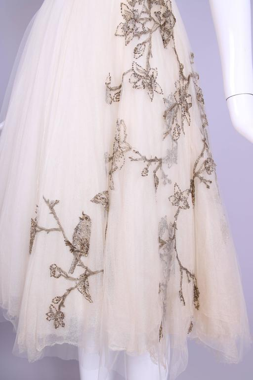2006 Alexander McQueen Strapless Embroidered Gown w/Golden Flowers & Birds 7