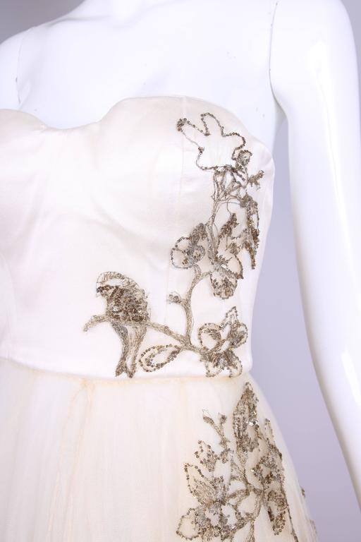2006 Alexander McQueen Strapless Embroidered Gown w/Golden Flowers & Birds 6