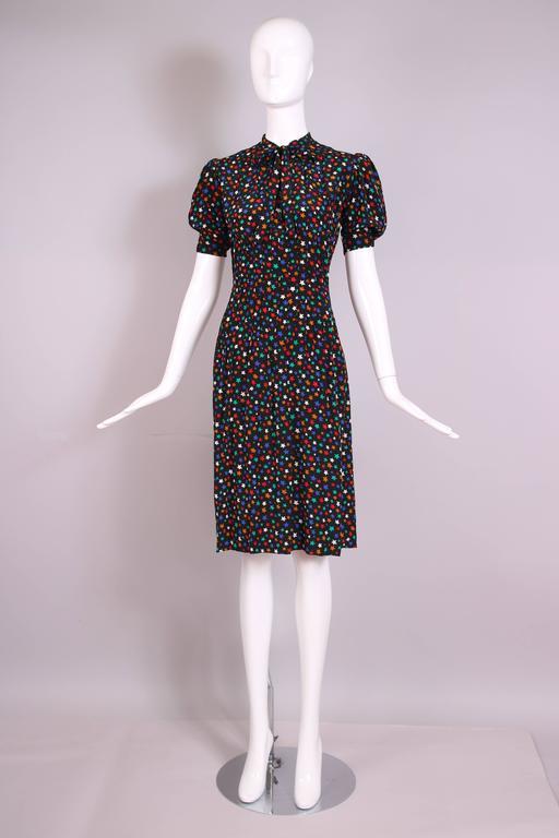 Vintage Yves Saint Laurent Ysl Silk Star Print Day Dress W