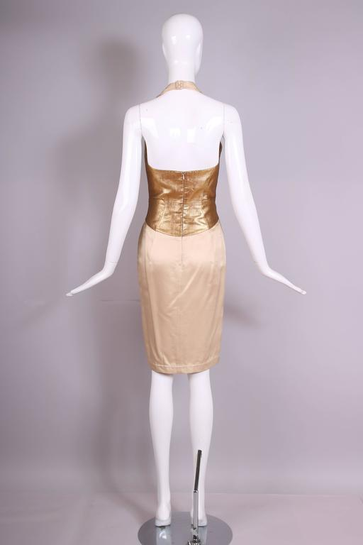 Thierry Mugler Silk Halter Dress W/Gold Bodice & Creme Colored Faux-Wrap Skirt 5