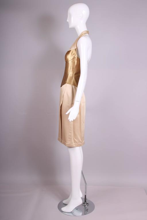 Thierry Mugler Silk Halter Dress W/Gold Bodice & Creme Colored Faux-Wrap Skirt 4