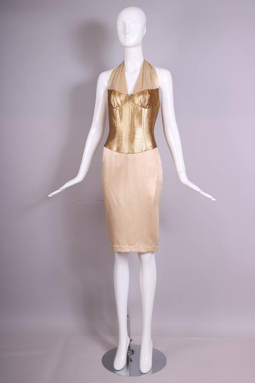 Thierry Mugler Silk Halter Dress W/Gold Bodice & Creme Colored Faux-Wrap Skirt 3