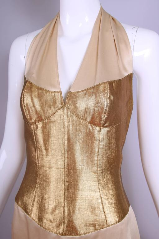 Thierry Mugler Silk Halter Dress W/Gold Bodice & Creme Colored Faux-Wrap Skirt 6