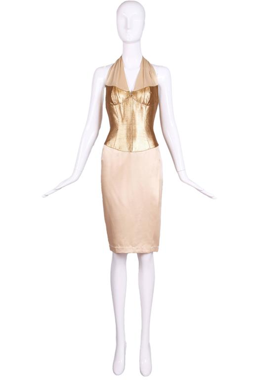 Thierry Mugler Silk Halter Dress W/Gold Bodice & Creme Colored Faux-Wrap Skirt 2