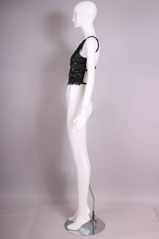 Gianfranco Ferre Black Open-Back Top Embroidered W/Raffia, Silk Ribbon, & Beads For Sale 1