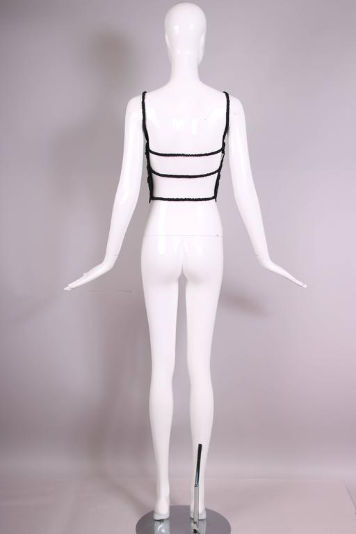 Women's Gianfranco Ferre Black Open-Back Top Embroidered W/Raffia, Silk Ribbon, & Beads For Sale