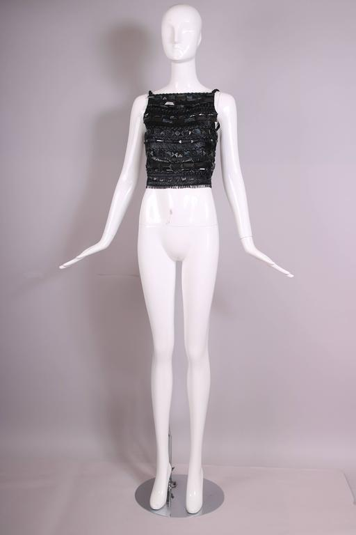 Gianfranco Ferre Black Open-Back Top Embroidered W/Raffia, Silk Ribbon, & Beads In Excellent Condition For Sale In Los Angeles, CA