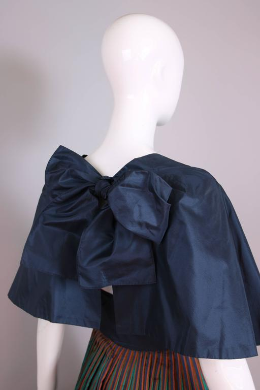 1983 Madame Gres Blue Striped Taffeta Cocktail Dress W/Cropped Cape For Sale 2