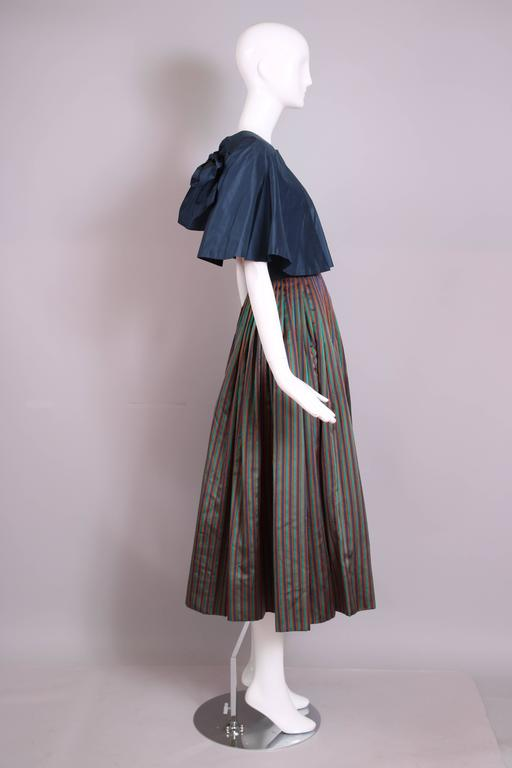 Gray 1983 Madame Gres Blue Striped Taffeta Cocktail Dress W/Cropped Cape For Sale
