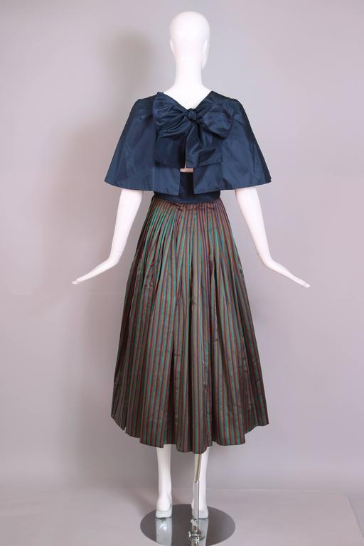 Women's 1983 Madame Gres Blue Striped Taffeta Cocktail Dress W/Cropped Cape For Sale