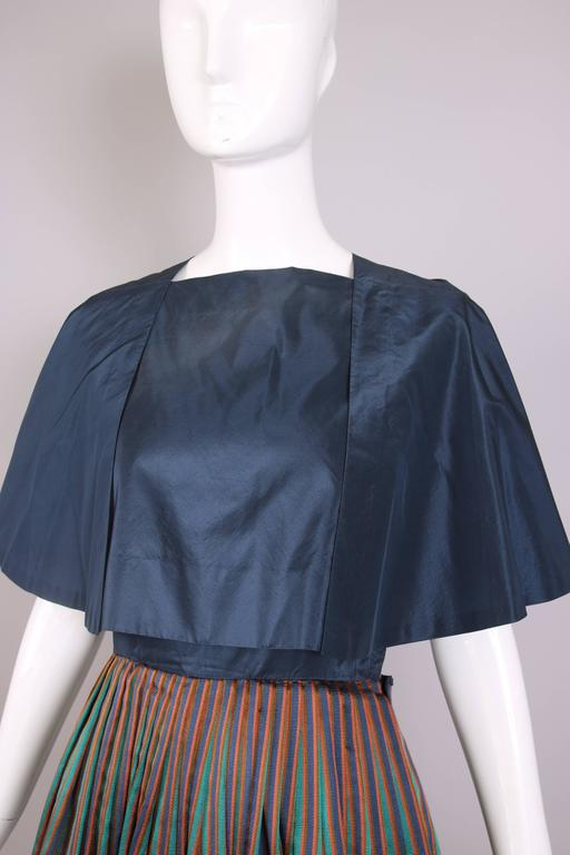 1983 Madame Gres Blue Striped Taffeta Cocktail Dress W/Cropped Cape For Sale 1