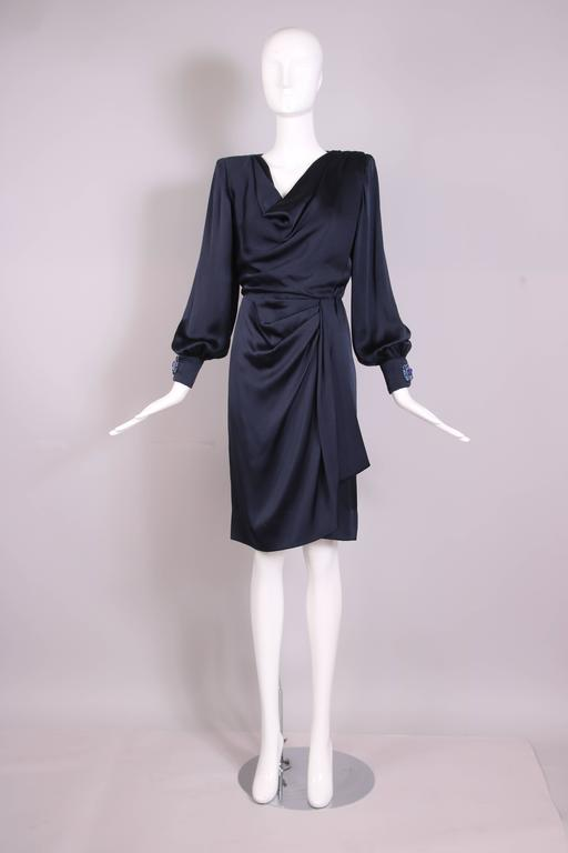 Vintage Givenchy Haute Couture Midnight Blue Silk Faux Wrap Dress No. 78026 3