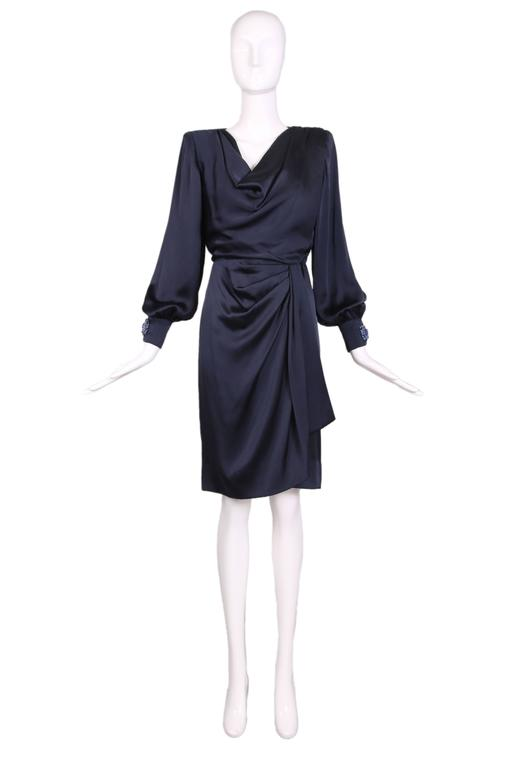 Vintage Givenchy Haute Couture Midnight Blue Silk Faux Wrap Dress No. 78026 2