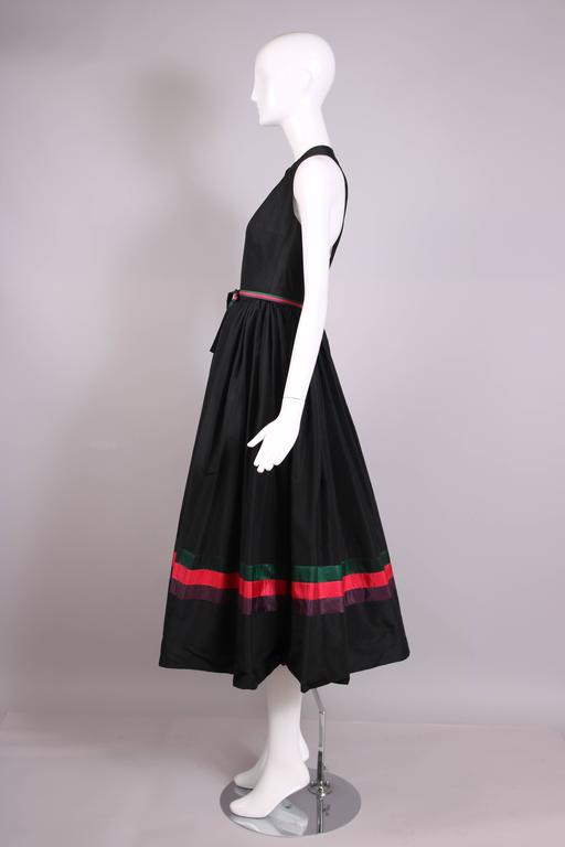 Madame Gres Haute Couture Black Silk Cocktail Dress W/Matching Cover Up Ca. 1983 5