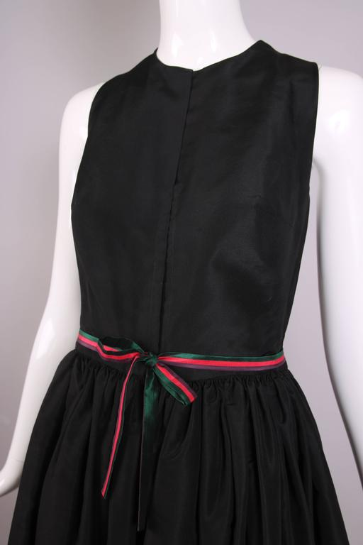 Madame Gres Haute Couture Black Silk Cocktail Dress W/Matching Cover Up Ca. 1983 6