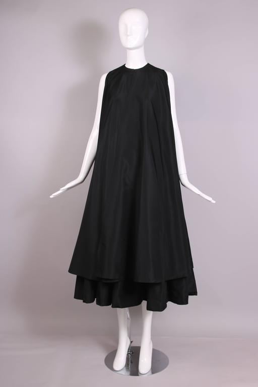 Madame Gres Haute Couture Black Silk Cocktail Dress W/Matching Cover Up Ca. 1983 4