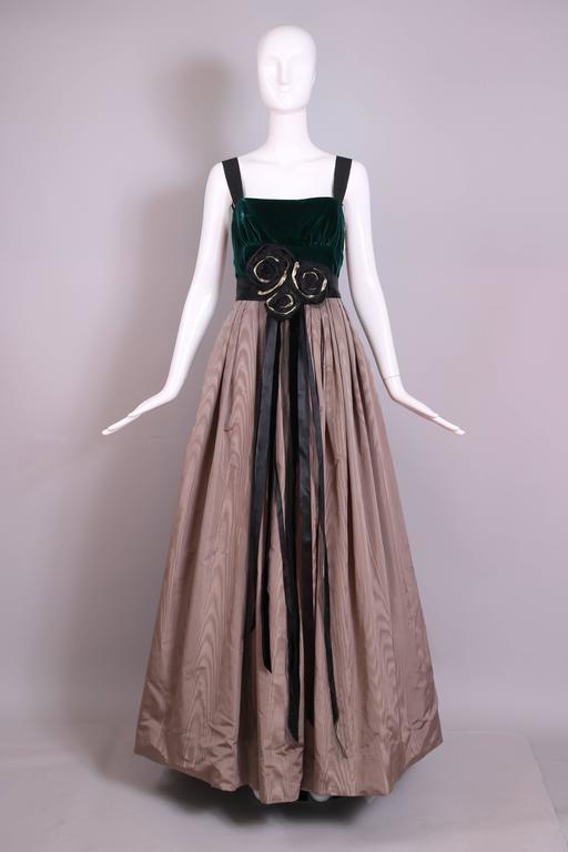 Marc Jacobs Evening Gown W/Green Velvet Bodice, Taffeta Skirt and ...