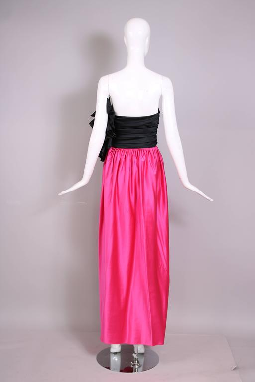 1979 Lanvin Haute Couture Pink And Black Satin Strapless
