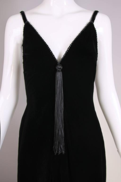 Givenchy Haute Couture Black Silk Velvet Evening Gown W/Matching Cape No. 59129 For Sale 1