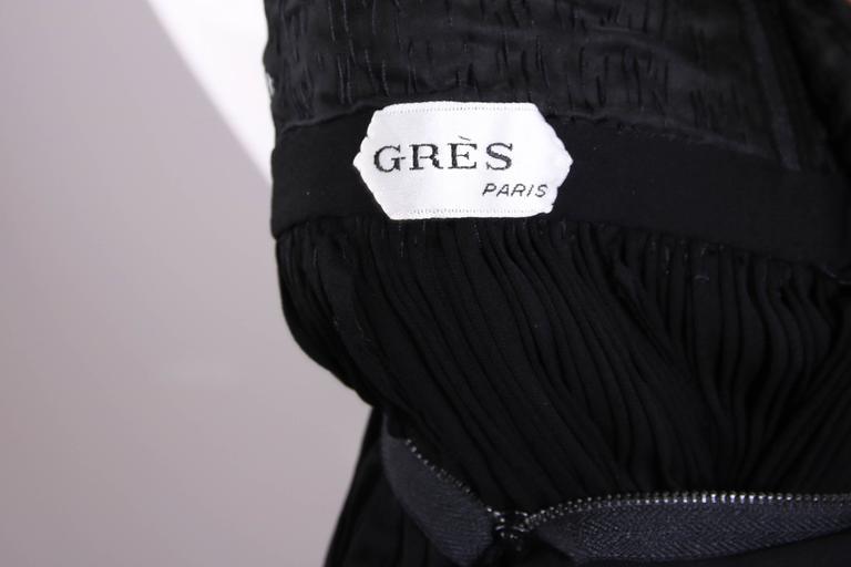 1970's Madame Gres Haute Couture Black Pleated Drapé Halter Gown W/Shawl & Slip 10