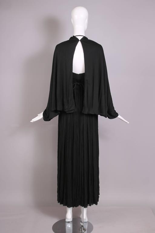 1970's Madame Gres Haute Couture Black Pleated Drapé Halter Gown W/Shawl & Slip 8
