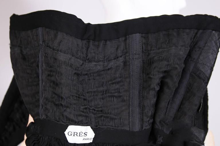 1970's Madame Gres Haute Couture Black Pleated Drapé Halter Gown W/Shawl & Slip 9